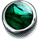 Q-Parts Dome Guitar Knob, Chrome with Green Abalone Shell