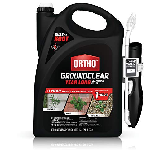 Ortho GroundClear Year Long Vegetation Killer - With Continuous Spray Comfort Wand, Visible Results in 1 Hour, Kills Weeds and Grasses to the Root, Up to 1 Year of Weed and Grass Control, 1.33 gal.
