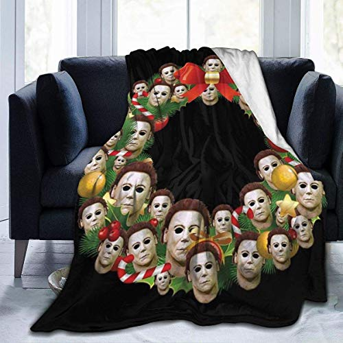 haoqianyanbaihuodian Michael Myers Halloween Multiface, manta de franela de forro polar, ligera, ultrasuave, cálida, adecuada para sofá