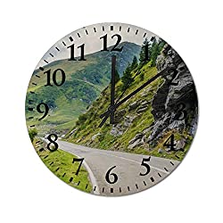 Lutd23apir 12 Inch Wall Clock Long Road Along Romanian Mountains and Rocks Round Wooden Clocks Silent & Non-Ticking Rustic Country Home Decor for Office Living Room,Kitchen,Bedroom Housewarming Gift