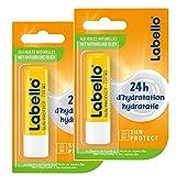 NIVEA SUN Labello Protection Solaire FPS 30 (2 x 5,5 ml), stick lèvres protection UVA/UVB & hydratation 24 h, baume à lèvres au beurre de karité et huile de jojoba bio