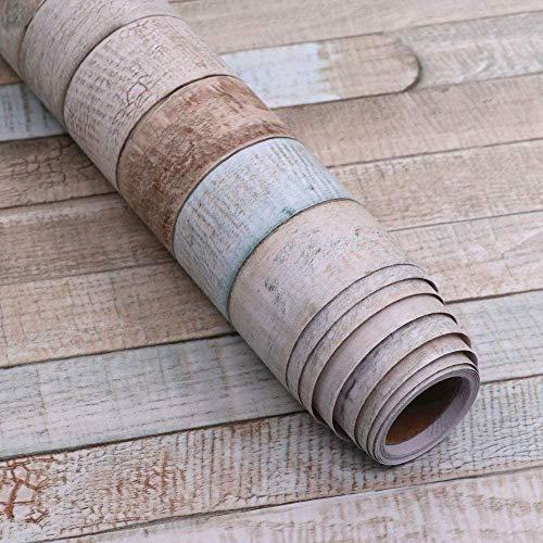 Abyssaly Holztapete, selbstklebend, abziehbar und klebend, entfernbar, 3D abwischbar, Vinyl-Holzbrett, für Möbel, Schlafzimmer, Küche, Schränke, Deko, Papierregal 17.7 in X 196 in blau
