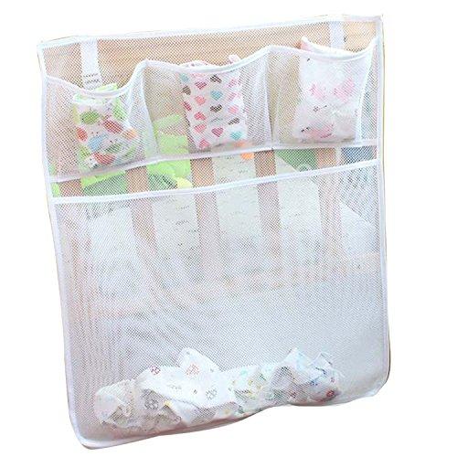 Hanging Baskets Useful Baby Pocket Storage Clothes Crib Stuff Organizer Laundry Tidy Mesh Bags White 4 Pockets