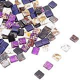 PandaHall Cuentas de 2 agujeros, 120 unidades, 6 estilos, 5 x 4.5 ~ 5.5 mm, rectángulo de vidrio, cuentas espaciadoras para múltiples hebras, pulseras, collares, joyas, manualidades