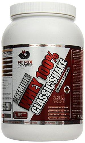 Fit Fox Express Premium Whey 100% Protein (Eiweißshake, Molkenprotein mit Dosierlöffel) Classic Peanut Hazelnut Cream, 1er Pack (1 x 1 kg), 1000 g Dose