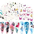 30 Sheets Butterfly Nail Art Stickers Decals Flower Butterfly Design Water Transfer Nail Stickers for Nails Art Supply Colorful Butterfly Foil Transfer Paper DIY Decoration Kits Tools Accessories Set