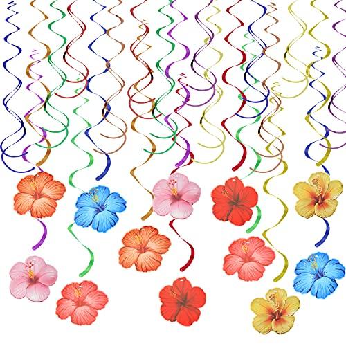 CHALA 24 Pezzi Ibisco Hawaii Spirali,Festa Hawaii Banner,Banner per Decorazioni per Feste Tropicale,Decorazione per Luau Partito...