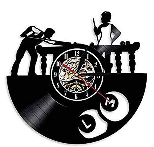 N-P Reloj de Pared con Disco de Vinilo para Piscina de Billar, diseño Moderno, decoración de Sala de Estar, Reloj de Pared Deportivo, Reloj de Pared de Vinilo, decoración del hogar, 12 Pulgadas