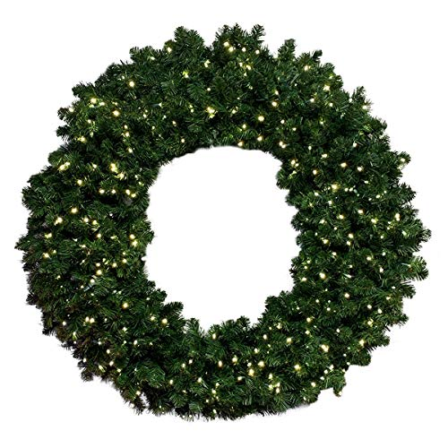 Barcana Breckenridge Christmas Wreath with Warm White Led Mini Lights, 60 Inches