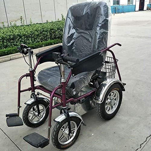 DSHUJC Elektrische Rollstühle, Leichter Faltbarer Elektrorollstuhl mit Verstellbarer Rückenlehne und tragbarem Transit mit Zwei leistungsstarken Motoren für behinderte und ältere Menschen