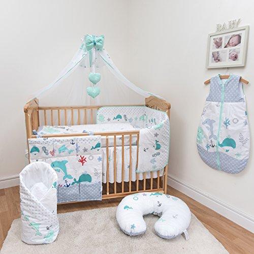10 pièces Parure de Berceau avec coupe de sécurité Bumper et auvent – pour lit bébé/Lit bébé lit