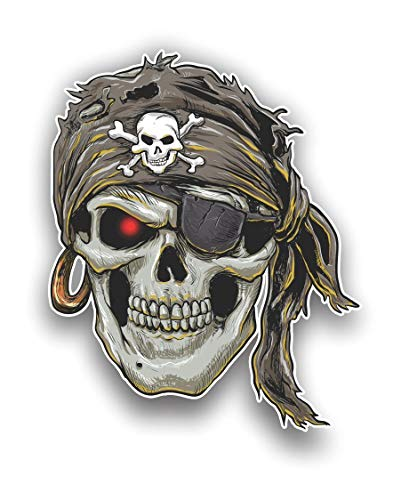 Magnet Pirate Skull with Skull and Crossbones Magnetic vinyl bumper sticker sticks to any metal fridge, car, signs 5'