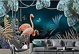 Fotomurales Papel tapiz Papel pintado nórdico bosque tropical hoja de plátano flamenco pastoral papel tapiz 3d ornamento papel tapiz de fondo para habitación de niños-Aproximadamente 250 * 175 cm 3