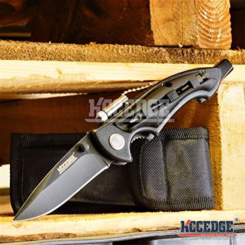 KCCEDGE BEST CUTLERY SOURCE 8 Inch Multi Functional Pocket Knife w/LED Light & Screwdriver Bits (Black)