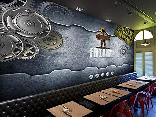 Murale Carta da parati Macchine industriali europee e americane Gear Bar Coffee Shop Tv divano sfondo muro Home Decor personalizzato di qualsiasi dimensione