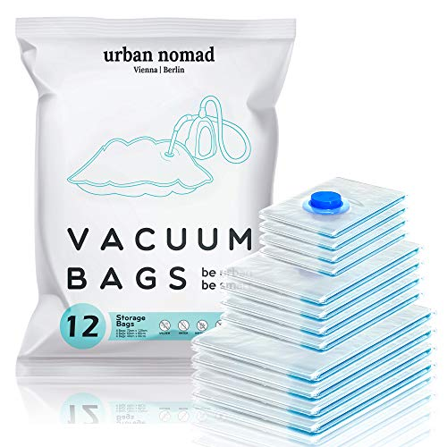 Vacuum Storage Bags for Duvets Clothes Travel - 12 Pack 3 Sizes Jumbo Medium Small, Reusable No Leak Compression 80% More Space Saver Suction Seal Bag Extra Durable, Bedding Pillows Dresses Blankets