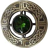 Hombres Kilt Fly Plaid Brooch Verde Piedra Acabado Antiguo 3'/Highland Pin y Broches Nudo Celta