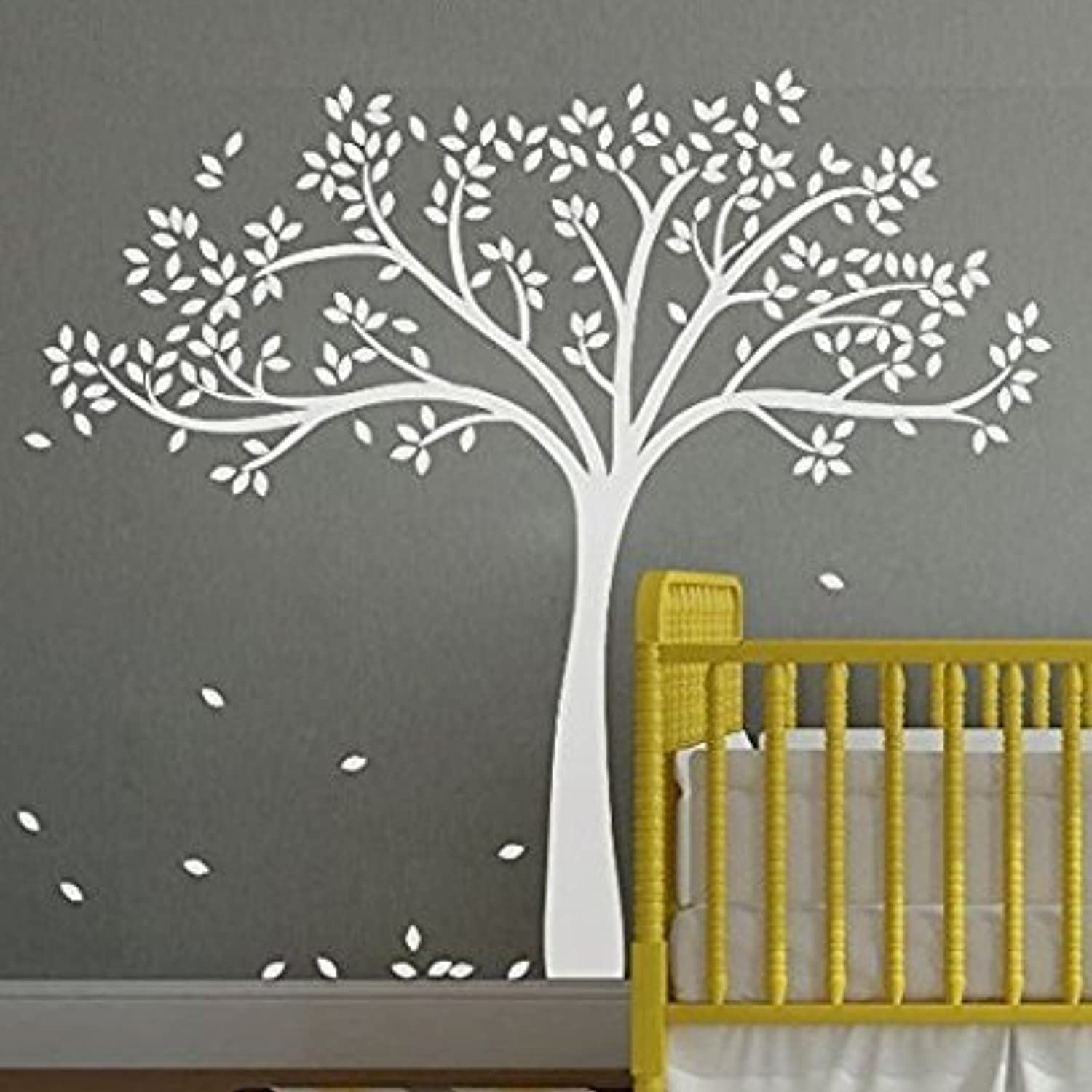 White Tree Wall Decal with Leaves Tree Wall Decals Nursery Kids Rooms