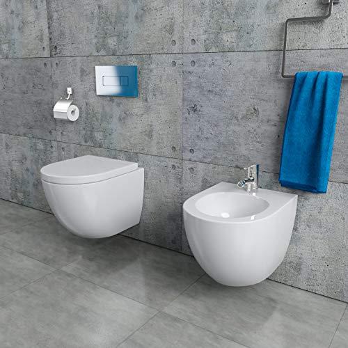 KERABAD Design Keramik Hänge-WC + Bidet Randlos Spülrandlos inkl. WC-Sitz mit Absenkautomatik 48cm KB76-1-M-SET