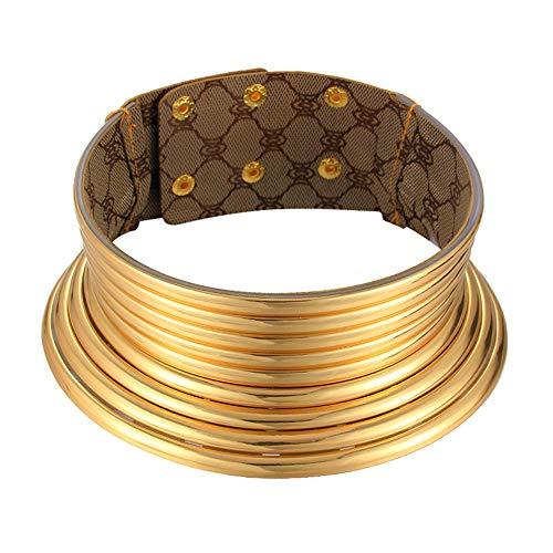 YUIP Gargantilla Africana, 1 Pieza Ajustable Collares Etnicos Collar Africano Collares de Tono de Oro para Mujeres Hombres Regalo de Cumpleaños de Navidad
