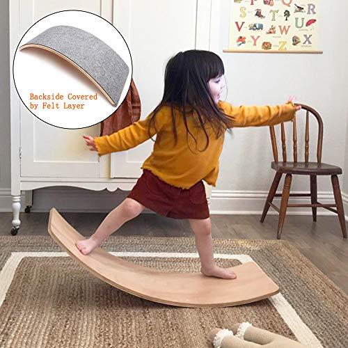 little dove Wood Balance Board Wobbel Balance Board Kid Yoga Board Curvy Board - Wooden Rocker Board Kid Size Dark Grey