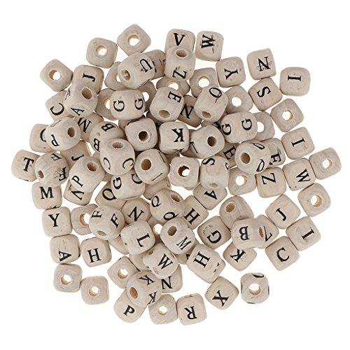 dailymall 100 Piezas de Cuentas de Cubo de Letras de Alfabeto de Madera Blanca Multicolor para Niños Manualidades de 10 Mm - Blanco