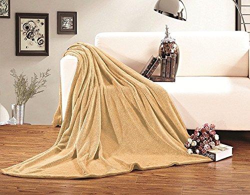 Eleganten Komfort® Ultra Super Weiches Fleece Plüsch Wohndecke alle Größen King/Cal King Gold