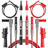 AstroAI 8Pcs Multimeter Test Leads Kit,Digital Multimeter Leads with Alligator Clips and Plunger Test Mini Hooks Test Probes 1000V 10A CAT III & CAT IV 600V for Multimeter, Voltmeter, Clamp Meter