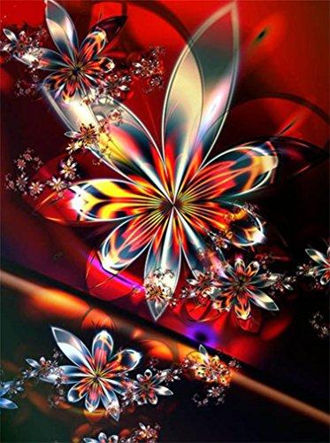 Riou DIY 5D Diamant Painting voll,Stickerei Malerei Diamant Bunt Blumen Bild Muster Crystal Strass Stickerei Bilder Kunst Handwerk für Home Wall Decor gemälde Kreuzstich (Mehrfarbig, 30 * 40cm)