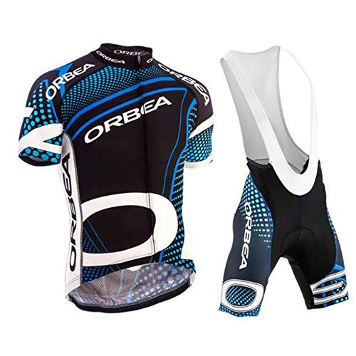 Fahrradbekleidung Herren Set Atmungsaktiv Schnelltrockend Radtrikot Kurzarm + Radhose mit 3D Sitzpolster Radsport Trikot Set