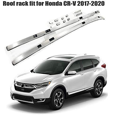 LAFENG Baca de plata para 2017 – 2020 HONDA CRV CR-V 2 piezas de aleación de aluminio portaequipajes portaequipajes rieles de techo