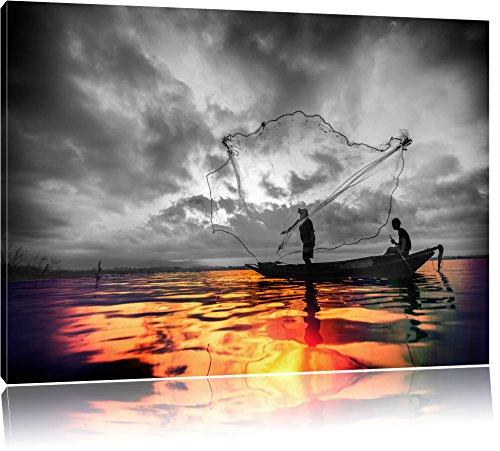 Angler angeln mit großem Fangnetz auf See schwarz/weiß Format: 100x70 auf Leinwand, XXL riesige Bilder fertig gerahmt mit Keilrahmen, Kunstdruck auf Wandbild mit Rahmen, günstiger als Gemälde oder Ölbild, kein Poster oder Plakat