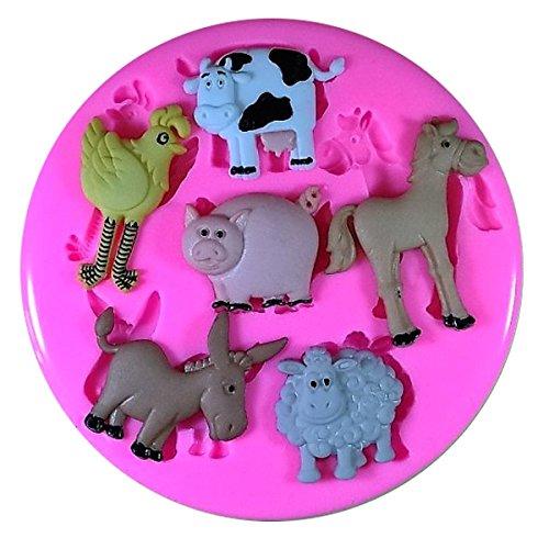 Animaux pig Ferme Mouton Vache Cheval âne Moule en silicone Moule pour décoration gâteau glaçage pour gâteau Sugarcraft outil de fées Blessings