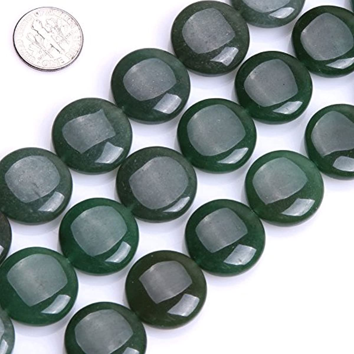 GEM-inside Aventurine Gemstone Loose Beads Natural Green 20mm Smooth Coin Crystal Energy Stone Power For Jewelry Making 15