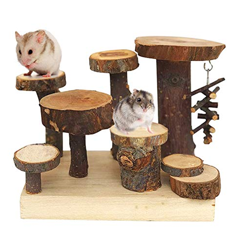 Hamiledyi Hamster Natural Wood Playground Rat Climb Activity Platform Dwarf Mice Living System with Ladders Play Chews Toys for Small Pet Animal Mouse,Gerbil