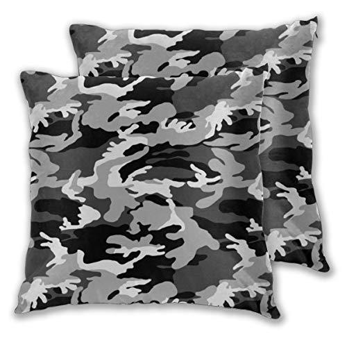 nonebrand Colonial Marine Grayscale Camuflaje patrón Funda de cojín decorativo para sofá cama, 18 x 18 pulgadas, juego de 2