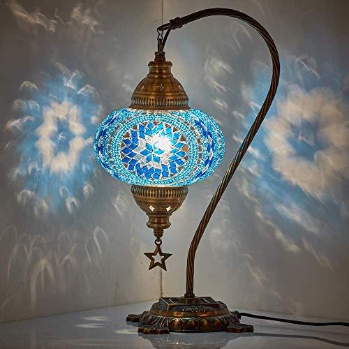 DEMMEX 2019 - Lámpara de mesa de mosaico turco marroquí con enchufe de EE. UU. y enchufe, cuello de cisne, hecha a mano, lámpara decorativa para mesita de noche, cuerpo de color antiguo