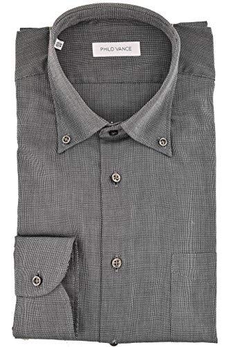 Philo Vance Camicia Uomo Classica Armaturato Collo Button Down - Conero - Grigio, 17 43