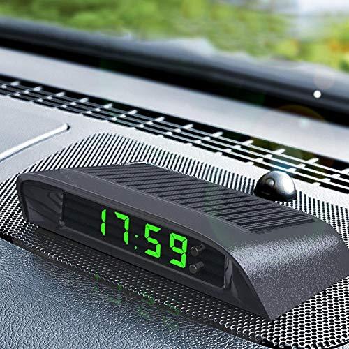 sunflowerany DC12-24V Auto Digital Thermometer Solar Leuchtende Auto LCD-elektronische Uhr Mit Anzeige Von Uhrzeit, Datum Und Temperatur Mit 500 MAh Batterie Auto Dashboard Clock