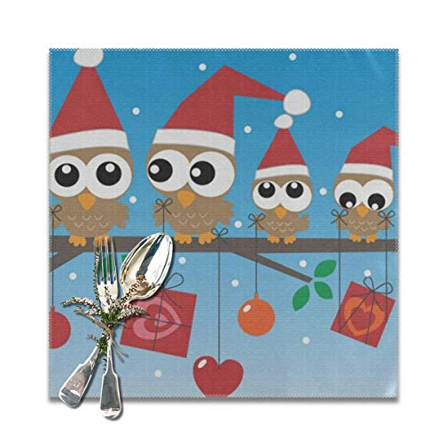 Merry Christmas Owl Blue Placemats Set of 4 for Dining Table Heat Resistant Table Mat Washable Non Slip Large Fabric Coffee Kitchen Square Plate Mat Personalized Decorative