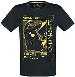 Pokemon T Shirt Pikachu Profile Gold Card Logo Official Mens Black Size M