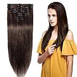 Extension a Clip Cheveux Naturel - Rajout 100% Cheveux Humains Vrai Cheveux - 8 Mèches Volume de Base (#02 Chocolat foncé, 25cm = 50g)