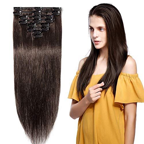 25cm Extension Capelli Veri Clip 8 Fasce 18 Clips 100% Remy Human Hair Testa Piena Lisci, 02# Marrone Scuro