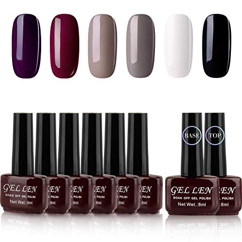 Gellen Gel Nail Polish Kit 6 Colors With Base Top Coat - Classic Elegance Series Popular Dark Shade Nail Art Colors White Black Grays Wine Purple Home Gel Starter Manicure Set