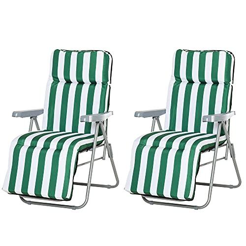 Outsunny Conjunto de 2 Tumbonas Plegable Jardín Silla Inclinable Acolchado Reposapies Playa Camping Acero Verde