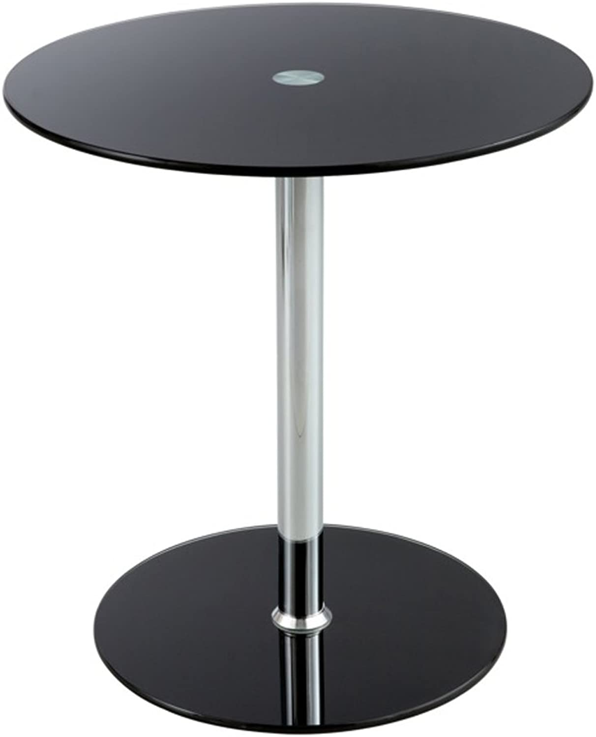 Safco Home Office Decorative Glass Accent End Table Black
