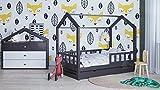 Letto house con un cassette Bonnie Letto en madera para bambini da letto cottage para adolescentes letto en legno cottage en wood house sin barrera (80 x 190cm, Madera natural)
