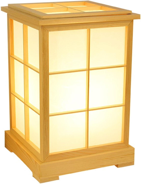 XUANLAN Japanische Art hlzerne Tischlampe, moderne LED-energiesparende Nachttischlampe, einfache Schlafzimmerstudierschreibtischlampe (Farbe   Warm light)