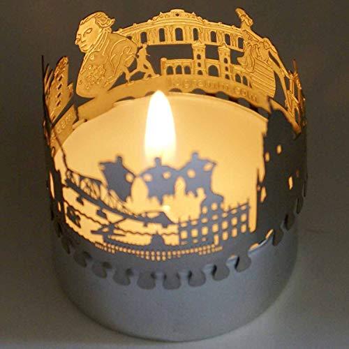 13gramm Potsdam-Skyline Windlicht Schattenspiel Souvenir, 3D Edelstahl Aufsatz für Kerze inkl. Karte