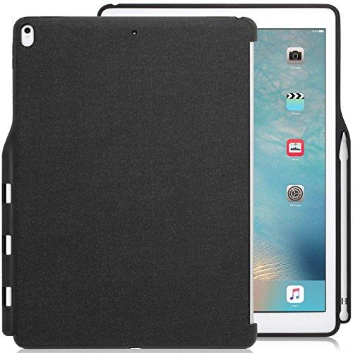 KHOMO iPad Pro 12.9 (2017) Rückseite Abdeckung Hülle Hülle Schutzhülle Kompatibel mit Smart Cover, Tastatur & Apple Pencil 1 Halter - Dunkelgrau